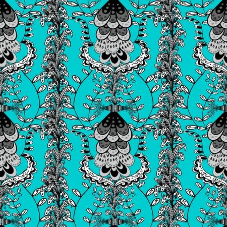 light green background: Seamless wallpaper pattern in vintage style on light green background.