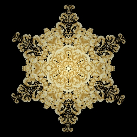 oriental vector: Oriental vector pattern with arabesque and floral elements. Abstract golden ornament