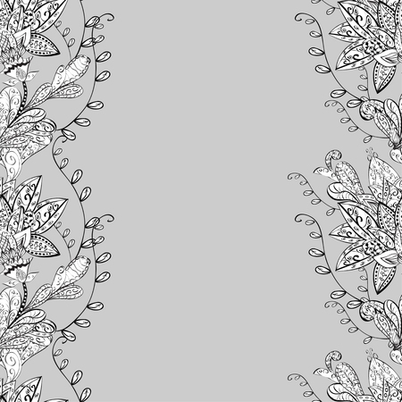 gray texture: vector seamless abstract floral pattern, monochrome. Black and white vector seamless pattern, vintage doodles ornament. Illustration
