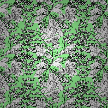 Seamless wallpaper pattern in vintage style on blue background.