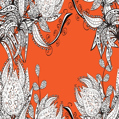 stately: vector seamless abstract floral pattern on orange background