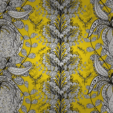 stately: vector seamless abstract floral pattern on dark yellow shadows background