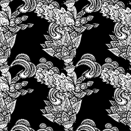 bezel: vector seamless abstract hand drawn pattern on black background