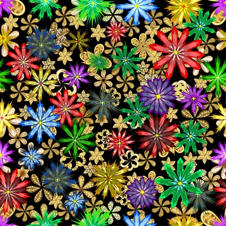 distributed: Seamless pattern of wild flowers, randomly distributed in bronze and golden, on a black background.