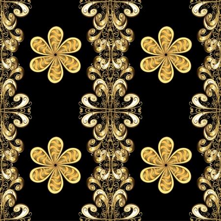 gold floral: Seamless gold floral elements on black background