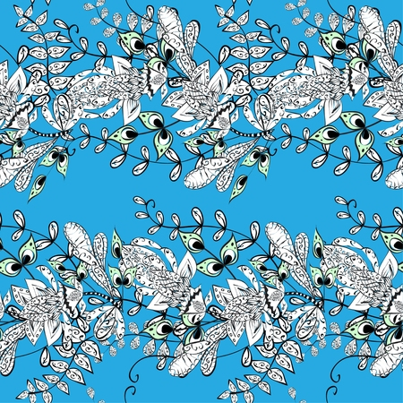 Seamless wallpaper pattern in vintage style on blue background Illustration