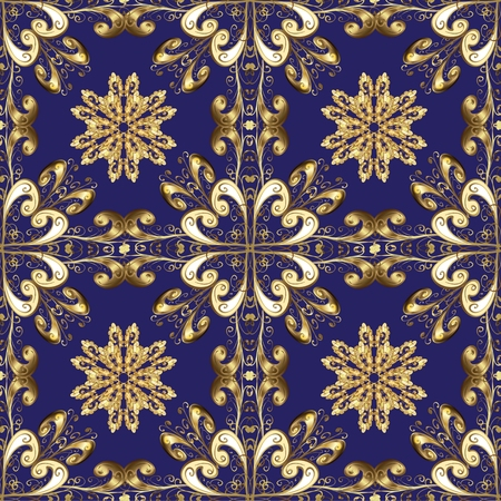 oldest: Abstract beautiful blue background with golden vintage flowers and pattern, royal, damask ornament, rich seamless pattern, luxury, artistic vector wallpaper, floral, oldest style fashioned arabesque