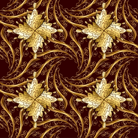 fashioned: Abstract beautiful red background, royal, damask ornament, vintage, rich seamless pattern, luxury, artistic vector wallpaper, floral, oldest style fashioned arabesque fabric. Seamless vintage style. Illustration