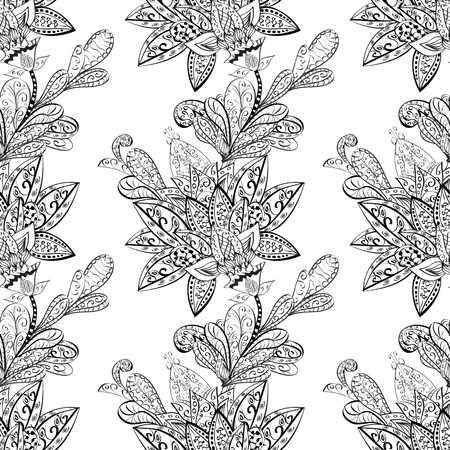 flowers on white: vector seamless abstract floral pattern, monochrome. Black and white vector seamless pattern, vintage doodles ornament. Illustration
