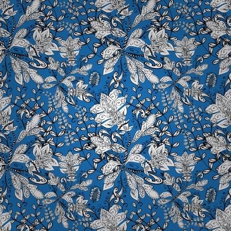 Seamless wallpaper pattern in vintage style on dark blue background.