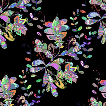 lilas: Seamless floral vivid pattern with colorful flowers on black. Vector illustration.