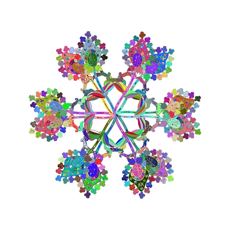 mongoloid: Colorful mandala, doily round, ornamental pattern, circle background,abstract lace decoration, fashion print