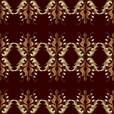 spun: seamless texture with golden pattern on dark red background.