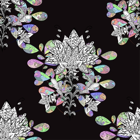 lilas: Seamless floral vivid pattern with colorful flowers on black.