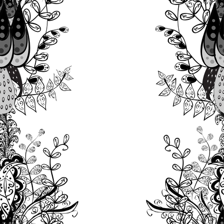 black branch: vector seamless abstract floral pattern, monochrome. Black and white vector seamless pattern, vintage doodles ornament. Illustration