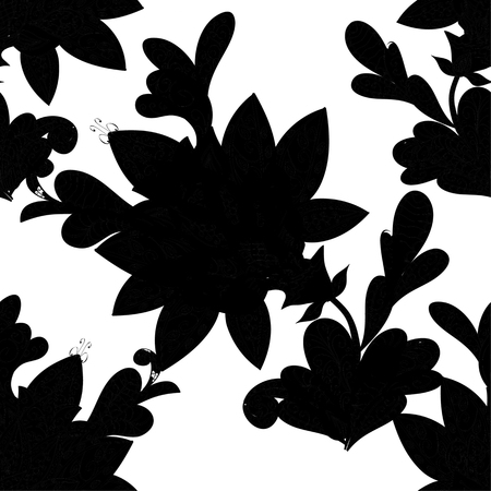 black and white image drawing: Hand drawn seamless pattern with various elements, flowers, branch on white background and black silhouette Illustration