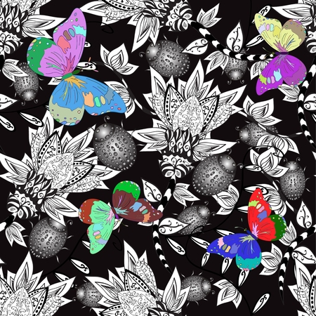 lilas: Seamless valentine pattern with colorful vintage butterflies and flowers and doodles on black background. Vector illustation.