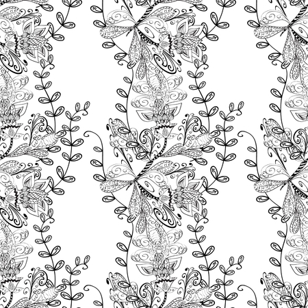 bezel: vector seamless abstract floral pattern, monochrome. Black and white vector seamless pattern, vintage doodles ornament. Illustration