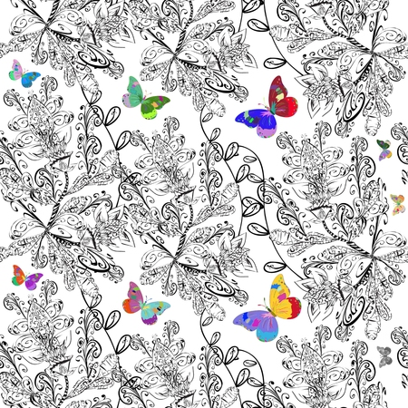 lightweight ornaments: Repeating white floral pattern with vintage brown butterflies and doodles flowers. Vector illustrator. Illustration