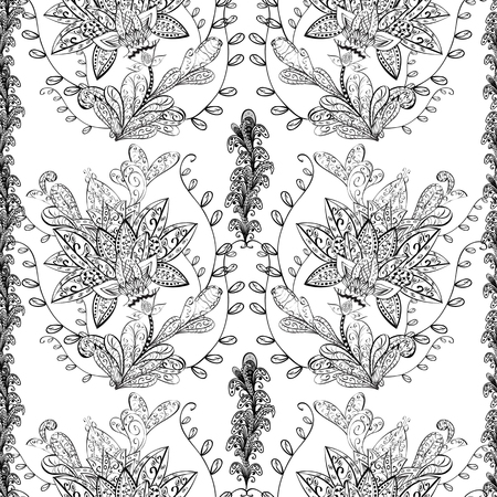 bezel: vector seamless abstract floral pattern, monochrome. Black and white vector seamless pattern, vintage doodles ornament. Stock Photo