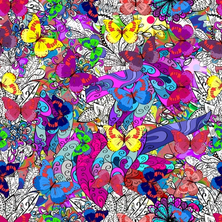 endless: Vector seamless abstract pattern with colorful butterfly. Endless background. Illustration