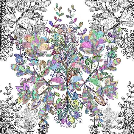 patrones de flores: Vector sin fisuras textura con garabatos. Fondo sin fin. Modelo inconsútil étnico. Vector telón de fondo. Patrón brillante. Plantilla de Verano. Utilice para el papel pintado, patrones de relleno, de fondo página web