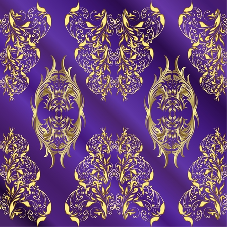 patter: vector stripes lilac gradient abstract golden doodles floral patter, dark blue background
