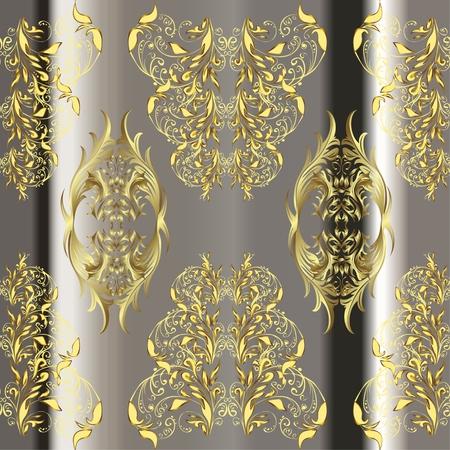patter: vector stripes gradient abstract golden doodles floral patter, dark grey background Illustration
