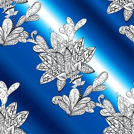 patter: vector stripes gradient abstract white doodles floral patter, blue background