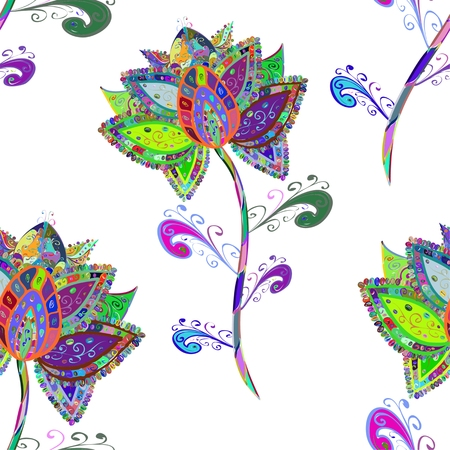 Vector Illustration of seamless pattern with colorful flowers on white background.