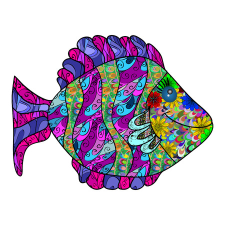 watter: isolated funny colorful cartoon fish with texture