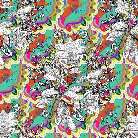 ethnic seamless pattern on colorful doodles bacground Illustration