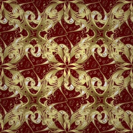 forged: Forged seamless pattern of gold fleur-de-lis on a red background. Openwork metal fence design. Modern style for wallpaper, wrapping, fabric, background, apparel, other print production. Vector