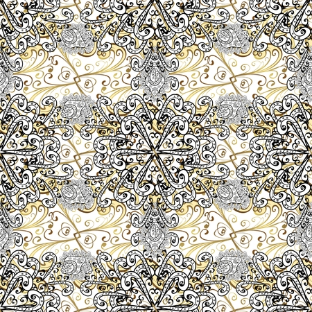 bezel: vector seamless texture with golden elements and flowers on white background