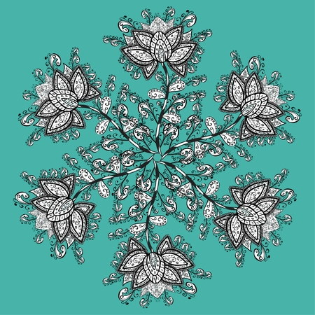wickerwork: Ornamental round lace pattern, circle background with many details, looks like crocheting handmade lace, abstract circular pattern. Vector illustration.
