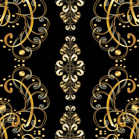 Black background with luxurious copper ornament. Raster version of vector. Illustration