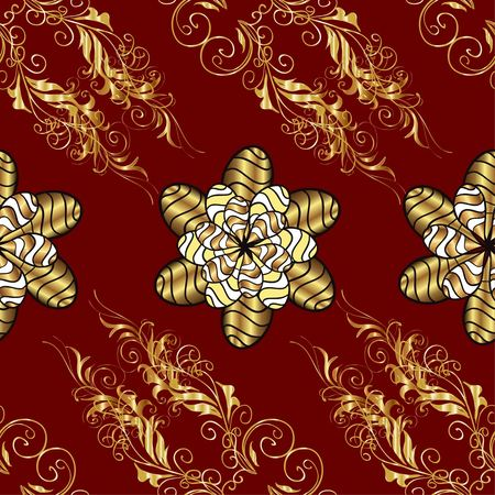 Vector seamless texture. Golden branches and flowers on red background. Vitage style. Illustration