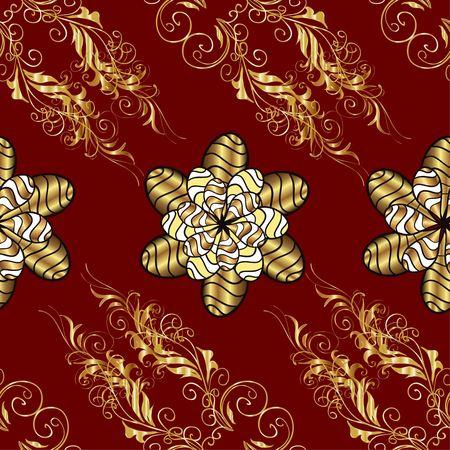 Vector naadloze textuur. Gouden takken en bloemen op rode achtergrond. Vitage-stijl. Stock Illustratie