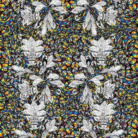 bash: Abstract seamless pattern with drops of different colors