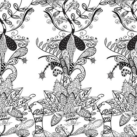 bezel: Vector seamless abstract floral pattern on white background, monochrome.