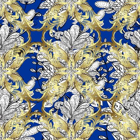 spun: seamless texture with golden pattern on blue background