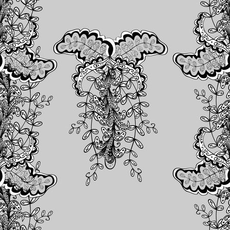 bagels: Floral vertical pattern, doodles,bagels, branches, leaves, seamless, copy space . Hand drawn.  Gray background. Vector illustration. Illustration