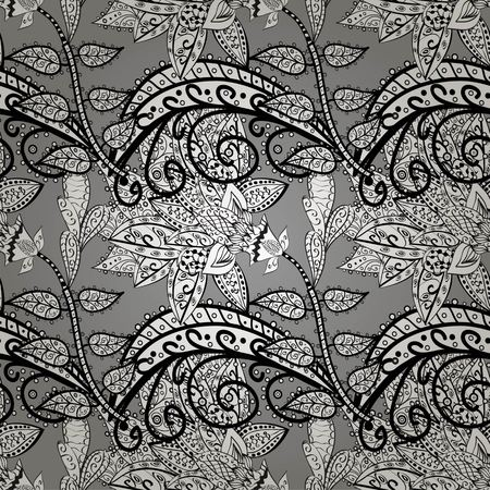 bagels: Floral pattern, doodles,bagels, branches, leaves, seamless, copy space . Hand drawn.  Gray background. Vector illustration.