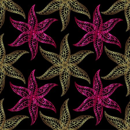 neon plant: Vector seamless pattern with the image of pink ang gold gradient doodles flowers. Floral colorful pattern on black background. The image looks like a starfish. Illustration