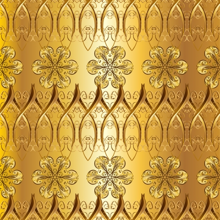 interesting: Abstract pattern, vintage golden gradient texture. Floral pattern. Interesting texture with golden elements. Illustration