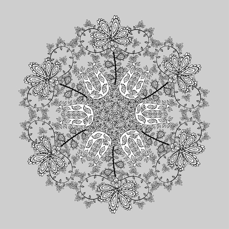 lace like: Ornamental round lace pattern, circle background with many details, looks like crocheting handmade lace, abstract circular pattern of arabesques. Vector illustration.