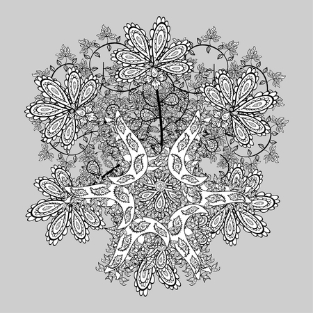 wickerwork: Ornamental lace pattern, circle background with many details, looks like crocheting handmade lace, abstract pattern. Vector illustration.