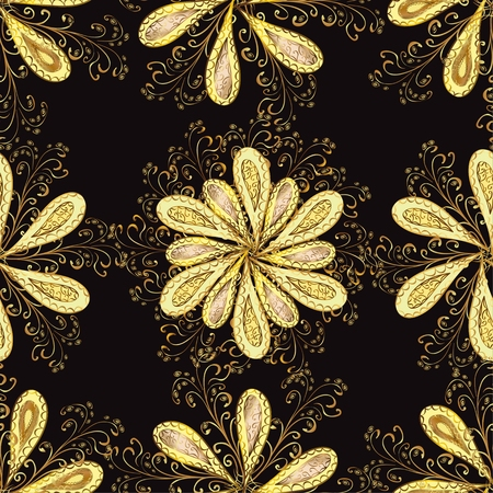 fashioned: Abstract beautiful background with golden flowers, royal, vintage, rich seamless pattern, luxury, artistic vector wallpaper, floral, oldest style fashioned arabesque fabric for decoration and design.