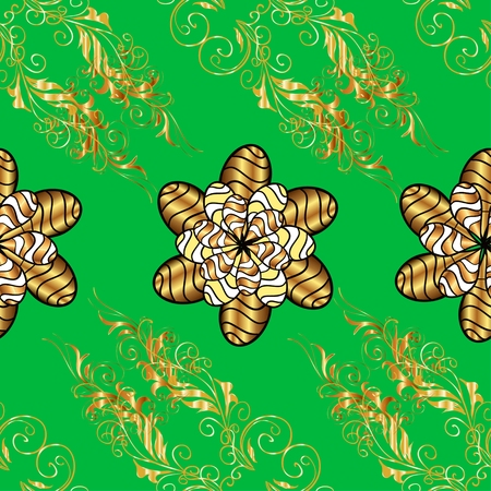 patter: vector green abstract golden doodles floral patter, dark blue background Stock Photo