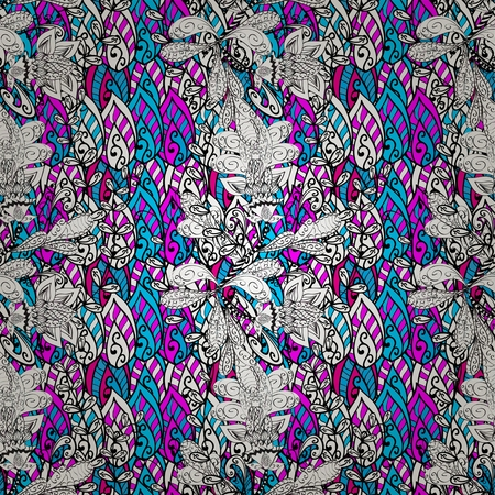 psychoanalysis: Vector seamless eastern pattern on colorful doodles background